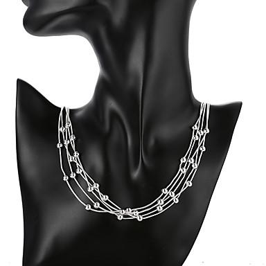 billige Mote Halskjede-Dame Anheng Halskjede geometriske Gypsophila Mote Sølvplett Sølv 50 cm Halskjeder Smykker 1pc Til Daglig Gate