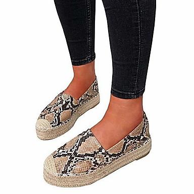 Kadın's Düz Ayakkabılar Düz Taban Yuvarlak Uçlu PU Yaz Siyah / Koyu Kahverengi / Haki