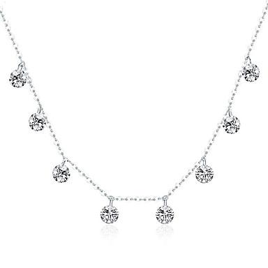 billige Halskjeder-ekte 925 sterling sølv blendende kubikk zirkon rund sirkel cz anheng halskjeder for kvinner sterling sølv smykker kjede lengde 37 cm kan justeres når du vil