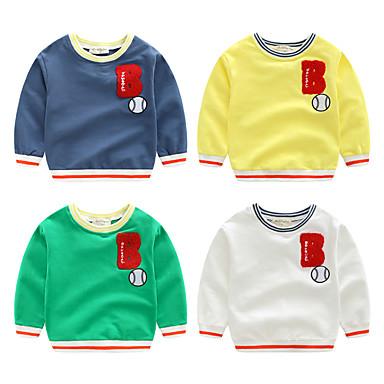 baratos Moletons Para Meninos-Infantil Para Meninos Básico Moda de Rua Retalhos Estampado Manga Longa Moleton & Blusa de Frio Branco
