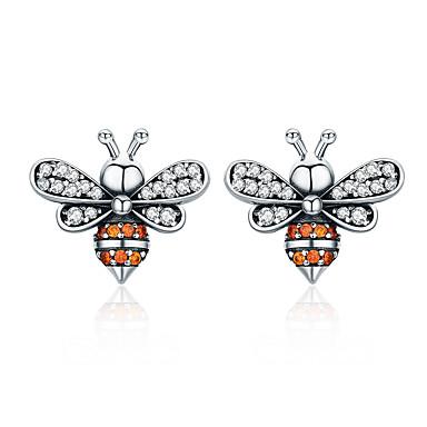 voordelige Dames Sieraden-hoge kwaliteit 100% 925 sterling zilveren bijenverhaal helder cz prachtige oorknopjes voor damesmode zilveren sieraden sce344