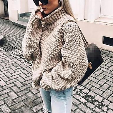 voordelige Nieuwe collectie-Dames Effen Lange mouw Ruimvallend Pullover, Coltrui Herfst / Winter Zwart / Wit / Paars S / M / L