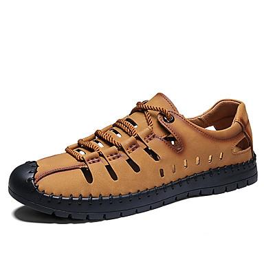 Erkek Ayakkabı PU Yaz Sandaletler Dış mekan için Siyah / Kahverengi / Haki