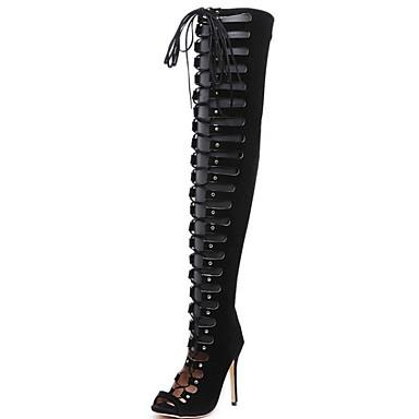 Kadın's Çizmeler Stiletto Topuk Sivri Uçlu Süet Bilek Üstü Botlar Yaz Siyah