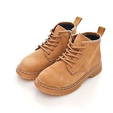 baratos Sapatos de Criança-Para Meninas Couro de Porco Botas Little Kids (4-7 anos) Botas de Neve Preto / Amarelo Inverno / Botas Curtas / Ankle