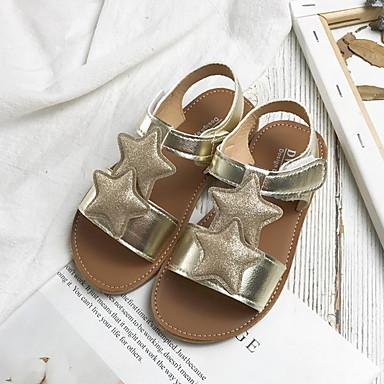 baratos Sapatos de Criança-Para Meninas Sintéticos Sandálias Little Kids (4-7 anos) Conforto Preto / Dourado / Prata Verão