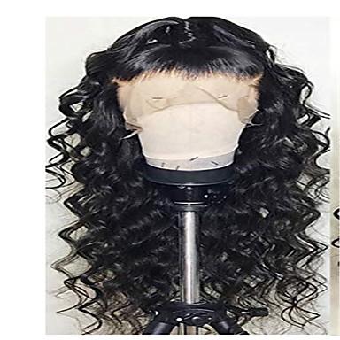 Remy Menneskehår Blonde Forside Parykk stil Brasiliansk hår Løse bølger Svart Parykk 130% Hair Tetthet Svart Dame Medium Lengde Blondeparykker med menneskehår beikashang