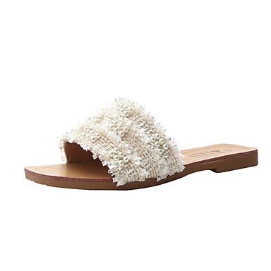 voordelige Damespantoffels & slippers-Dames Slippers & Flip-Flops Platte hak Ronde Teen Strass PU Zomer Zwart / Beige / Khaki