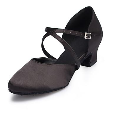 Kadın's Saten Modern Dans Ayakkabıları Ayrık Renkler Topuklular Kıvrımlı Topuk Kişiselleştirilmiş Siyah