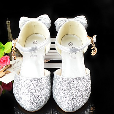 baratos Sapatos de Criança-Para Meninas Sintéticos Saltos Big Kids (7 anos +) Sapatos para Daminhas de Honra Prata Verão