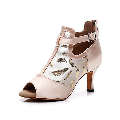 baratos Shall We® Sapatos de Dança-Mulheres Sapatos de Dança Seda Sapatos de Dança Latina Presilha Salto Salto Carretel Personalizável Rosa e Branco / Espetáculo / Ensaio / Prática