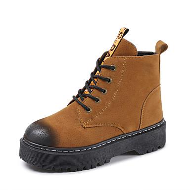 voordelige Dameslaarzen-Dames Laarzen Creepers Ronde Teen PU Herfst winter Zwart / Lichtbruin / Grijs