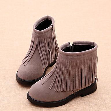 baratos Sapatos de Criança-Para Meninas Camurça Botas Little Kids (4-7 anos) Botas de Neve Mocassim Preto / Vermelho / Cinzento Inverno / Botas Curtas / Ankle