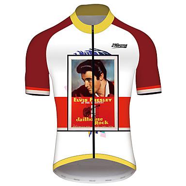 21Grams Elvis Presley Erkek Kısa Kollu Bisiklet Forması - Kırmızı / Beyaz Bisiklet Forma Üstler Nefes Alabilir Hızlı Kuruma Yansıtıcı çizgili Spor Dalları %100 Polyester Dağ Bisikletçiliği Yol