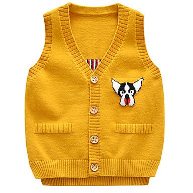 baratos Suéteres & Cardigans para Meninos-Infantil Bébé Para Meninos Activo Básico Cachorro Geométrica Estampado Estampado Sem Manga Suéter & Cardigan Azul Claro