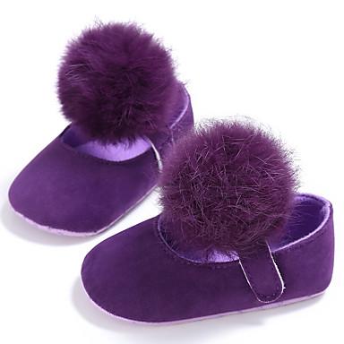 baratos Sapatos de Criança-Para Meninas Algodão Rasos Crianças (0-9m) / Criança (9m-4ys) Primeiros Passos Preto / Branco / Roxo Primavera / Verão