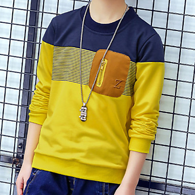 baratos Camisas para Meninos-Infantil Bébé Para Meninos Básico Moda de Rua Sólido Listrado Estampa Colorida Patchwork Manga Longa Camiseta Amarelo