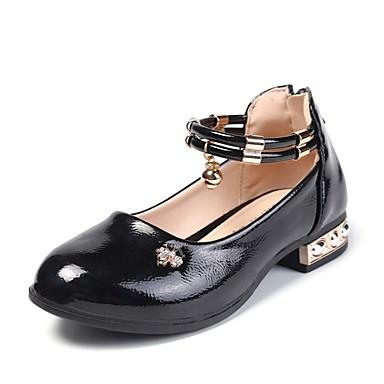 baratos Sapatos de Criança-Para Meninas Couro Ecológico Saltos Little Kids (4-7 anos) Sapatos para Daminhas de Honra Tachas Preto / Vermelho / Rosa claro Outono