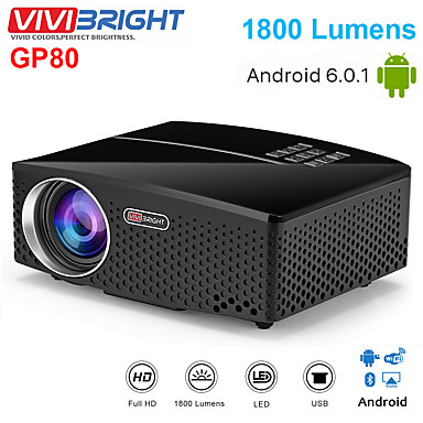 voordelige Projectors-vivibright gp80 projecten gp80up beamer led 1800 lumen hd mini draagbare projector voor home theater cinema ondersteuning 1080p usb hdmi pc video led school cadeau android proyectors