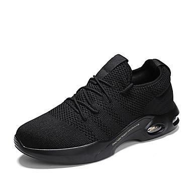 Erkek Ayakkabı Elastik Kumaş Sonbahar Sportif Atletik Ayakkabılar Günlük için Siyah / Siyah ve Beyaz / Gri
