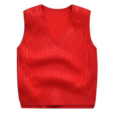 baratos Suéteres & Cardigans para Meninos-Infantil Bébé Para Meninos Activo Básico Sólido Sem Manga Suéter & Cardigan Amarelo