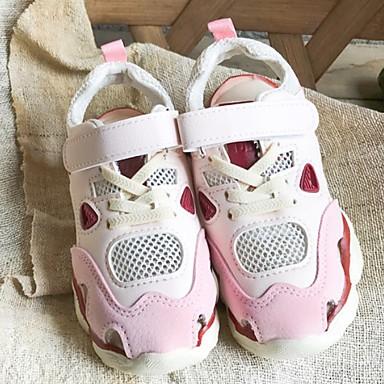 baratos Sapatos de Criança-Para Meninas Couro Ecológico Tênis Little Kids (4-7 anos) Conforto Corrida Rosa claro / Bege Outono