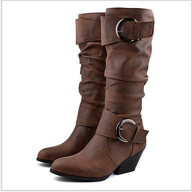 voordelige Dameslaarzen-Dames Laarzen Platte hak Ronde Teen PU Kuitlaarzen Herfst winter Zwart / Bruin / Geel
