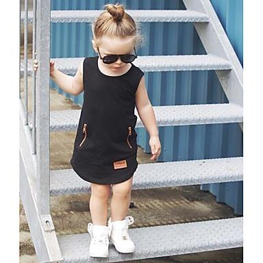 billige Babydrakter-Baby Jente Grunnleggende Ensfarget Ermeløs Endelt Svart