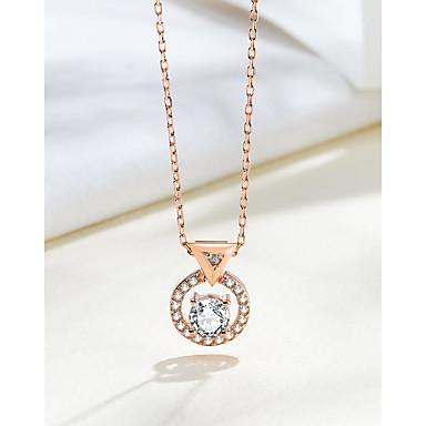 billige Halskjeder-nye sølv 925 smykker sirkulær zirkon superlys cubic zirconia mote anheng kvinne halskjede anheng størrelse på ca 9,7 mm * 12,4 mm kjedelengde på ca 45 cm (inkludert 5 cm justeringskjede)