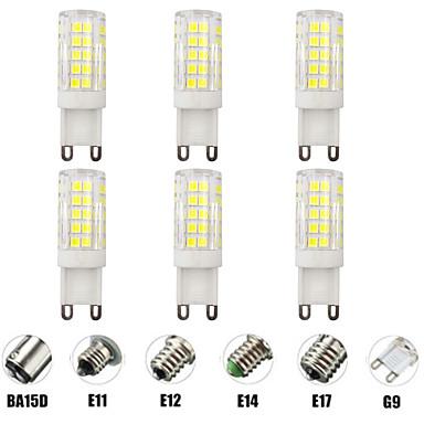 economico Lampadine-6pcs 7 W LED a pannocchia Luci LED Bi-pin 700 lm E14 G9 E12 T 64 Perline LED SMD 2835 Oscurabile Nuovo design Bianco caldo Bianco 220-240 V 110-120 V