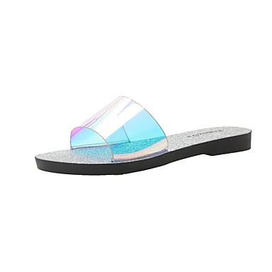 voordelige Damespantoffels & slippers-Dames Slippers & Flip-Flops Platte hak Ronde Teen PVC Zomer Zwart / Zilver