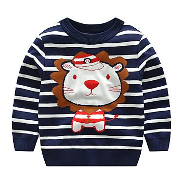 저렴한 남아 스웨터&가디건-아동 토들러 남아 활동적 베이직 사자 줄무늬 기하학 프린트 프린트 긴 소매 스웨터 & 가디건 밝은 블루