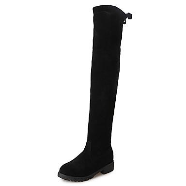 voordelige Dameslaarzen-Dames Laarzen Blokhak Ronde Teen Polyester Knielaarzen minimalisme Herfst winter Zwart
