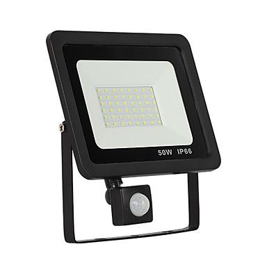 billige Utendørsbelysning-1pc 50 W LED-lyskastere / Utendørs Vegglamper Vanntett / Motion Detection Monitor Hvit 220-240 V / 110-120 V Utendørsbelysning / Courtyard 50 LED perler