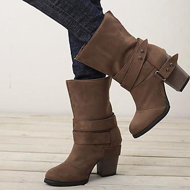 povoljno Ženske čizme-Žene Čizme Kockasta potpetica Okrugli Toe Platno Čizme do pola lista Zima Crn / Braon / Sive boje