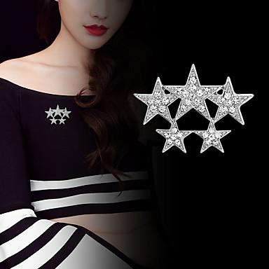 abordables Epingles & Broches-Femme Zircon Broche Stardust Etoile Luxe Basique Tendance Mode Broche Bijoux Dorée Argent Pour Mariage Soirée Quotidien Travail