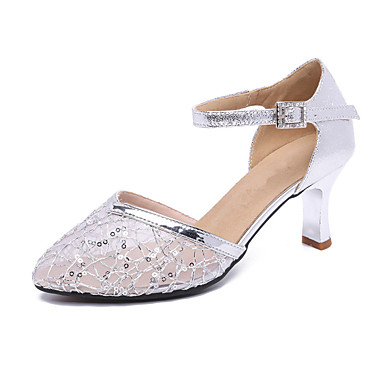 baratos Shall We® Sapatos de Dança-Mulheres Sintéticos Sapatos de Dança Moderna Salto Salto Cubano Personalizável Dourado / Prata / Azul