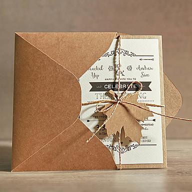 "cheap Wedding Invitations-Flat Card Wedding Invitations 30pcs - Invitation Cards / Thank You Cards / Response Cards Artistic Style / Vintage Style / Monogram Kraftpaper 5""×7 ¼"" (12.7*18.4cm) Braided Strap"