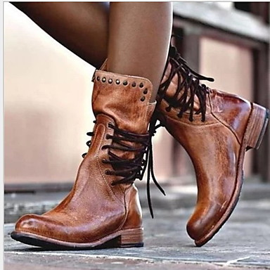 voordelige Dameslaarzen-Dames Laarzen Platte hak Ronde Teen PU Kuitlaarzen Herfst winter Zwart / Bruin / Grijs