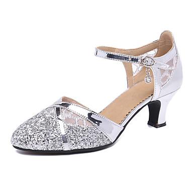 baratos Shall We® Sapatos de Dança-Mulheres Sintéticos Sapatos de Dança Moderna Salto Salto Cubano Personalizável Preto / Dourado / Prata