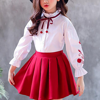 baratos Blusas para Meninas-Infantil Para Meninas Activo Moda de Rua Floral Retalhos Frufru Patchwork Bordado Manga Longa Camisa Vermelho