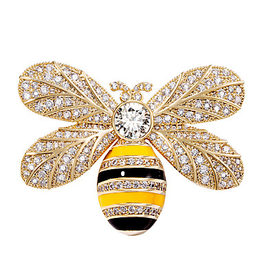 baratos Bijuteria de Mulher-Mulheres Broches Escultura Abelha Luxo Na moda Doce Elegante Colorido Imitações de Diamante Broche Jóias Dourado Prata Para Casamento Presente Rua Promessa