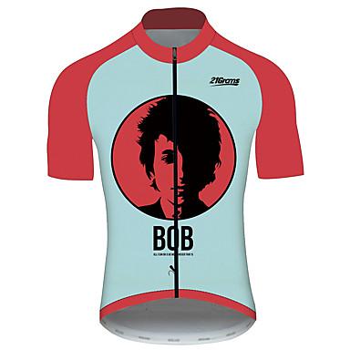 21Grams Bob Dylan Erkek Kısa Kollu Bisiklet Forması - Kırmızı / Beyaz Bisiklet Forma Üstler Nefes Alabilir Hızlı Kuruma Yansıtıcı çizgili Spor Dalları %100 Polyester Dağ Bisikletçiliği Yol / triatlon