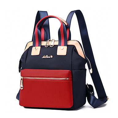 cheap Backpacks-Large Capacity Oxford Cloth Zipper Commuter Backpack Solid Color Daily Black / Blue / Red