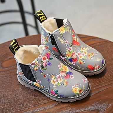 baratos Botas Infantis-Para Meninas Couro Envernizado Botas Little Kids (4-7 anos) Coturnos Flor Preto / Cinzento Inverno / Botas Cano Médio