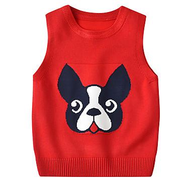 baratos Suéteres & Cardigans para Meninas-Infantil Bébé Para Meninas Activo Básico Cachorro Sólido Geométrica Estampado Estampado Sem Manga Suéter & Cardigan Amarelo