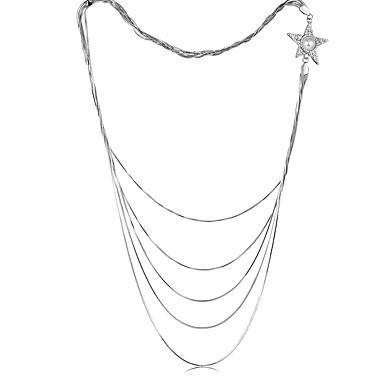 abordables Collier-Collier Femme Long Zircon Etoile Mode Cool Argent 82 cm Colliers Tendance Bijoux 1pc pour Quotidien Travail Forme Géométrique