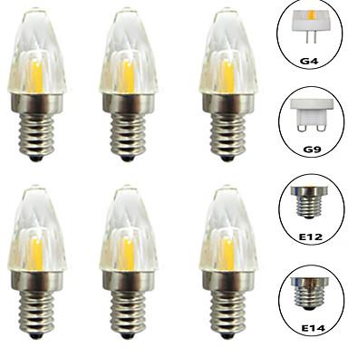 billige Elpærer-6pcs 3 W LED-lamper med G-sokkel 300 lm E14 G9 G4 T 1 LED perler COB Mulighet for demping Nytt Design Varm hvit Hvit 220-240 V 110-120 V