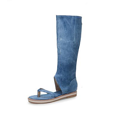 voordelige Damessandalen-Dames Sandalen Platte hak Open teen Canvas Kuitlaarzen Klassiek / minimalisme Zomer Zwart / Lichtblauw / Donkerblauw