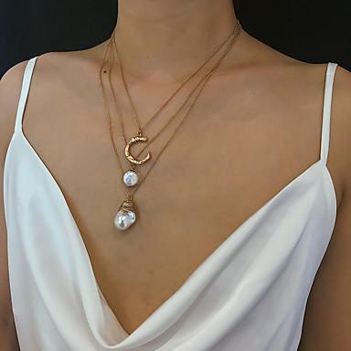 Kadın's Uçlu Kolyeler Kolye katmanlı Kolyeler Klasik Moda İnci Bakır Krom Altın 40 cm Kolyeler Mücevher 1pc Uyumluluk Hediye Günlük Karnaval Tatil Festival